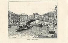 Stampa antica VENEZIA Canal Grande Ponte di Rialto 1892 Old antique print VENICE