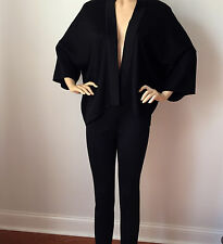 NEW ST JOHN KNIT PANT SUIT SZ 2 MILANO KNIT BLACK CAVIAR SHIMMER LEGGINS JACKET