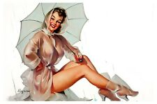Pin-up Raincoat Gil Elvgren High Quality Metal Magnet 2.7x4 inches 9654