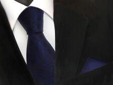 TigerTie Designer Krawatte + Einstecktuch blau dunkelblau marin schwarz Paisley