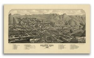1882 Golden Colorado Vintage Old Panoramic City Map - 14x24
