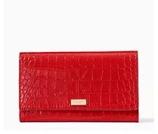 NWT Authentic Kate Spade Bristol Drive Croc Phoenix Travel Wallet Red