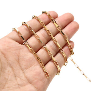 2meters Gold Plated Stainless Steel Rolo Cable Chains for DIY Jewelry Making