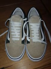 VANS Off The Wall Womens Trainers Sk8 Shoes Green Beige Size 4.5 UK US 7