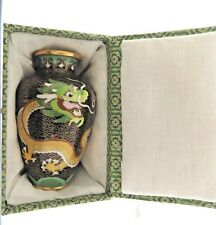 "Vintage Chinese Cloisonne Dragon Vase 3.25 x 5"" with Box"