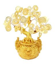 "7"" Feng Shui Gold Money Coins Tree in Dragon Pot Wealth Blessing Gift US Seller"