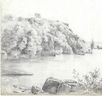 ANGERS Jardin de Plaisance du Roi RENÉ Dessin XIXe Original Situé et daté 1845