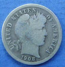 Verenigde Staten - USA : 1908 P dime, 10 cent, Barber. Silver.