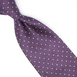 Josiah France Mens Silk Necktie Purple White Pindot Polka Dot Weave Tie