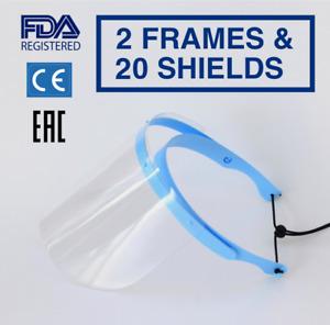 Safety Full Face Shield Flip-Up Clear Visor 2 PACK 20 SHIELDS Medical Mask Cover