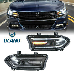 Pair LED Dual Beam Projector Headlights For 2015-2020 Dodge Charger SRT GT SXT