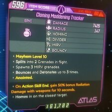 (PS4) Borderlands 3 [Level 60/Mayhem 10] Cloning Maddening Tracker (50%Rad)