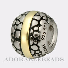Authetic Chamilia Silver & 14kt Dots & Lines Bead KC-11  LAST ONE!