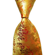 Classic Floral Yellow Gold JACQUARD WOVEN Silk Men's Tie Necktie Wedding Party