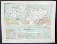 1873 W & AK Johnston Antique World Weather Map - Winds, Storms & Hurricanes