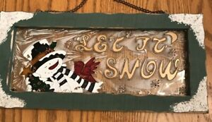 """Let it Snow Wood and Stain Glass Style Hanging Sign-12 1/2"""" x 6""""-Snowman Bird"""