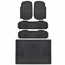 MOTORTREND® Front & Rear Car Floor Mats, Durable HD Rubber, EcoFriendly, Black