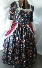 New Floral  Print Colonial Costume Dress w/ overskirt & Lace Bell Sleeves 48/B
