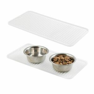 mDesign Silicone Pet Food/Water Bowl Feeding Mat for Dogs, Small, 2 Pack - Clear