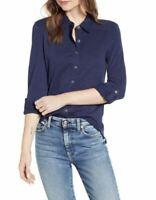 Caslon Women's Navy Roll long Sleeve Button Front Knit Shirt Large