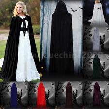 Adult Kids Boy Girl Halloween Hooded Velvet Vampire Cape Witch Cloak Party W3S7