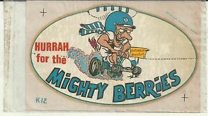 VINTAGE HURRAH FOR THE MIGHTY BERRIES CANTERBURY RUGBY LEAGUE CLUB DECAL STICKER