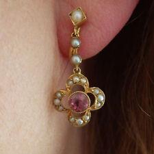 Fine Murrle Bennett 15ct Gold Pink Tourmaline & Pearl set Drop Earrings c1900