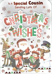 Special COUSIN - Quality Large Christmas Card Character Design