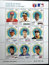 ST. VINCENT 1989 BASEBALL STAMPS SHEET WALT WEISS WILLIE MAYS SF GIANTS CANSECO