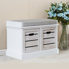 2 Drawer Crate Bench With Seat Pad Bedroom Hallway Seating Storage UK