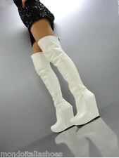 MORI ITALY WEDGES OVERKNEE HEELS BOOTS STIEFEL STIVALI LEATHER WHITE BIANCO 38
