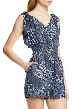 Rebecca Taylor Womens Sz L  Ava Blue Floral Romper Smocked Tie Shoulders