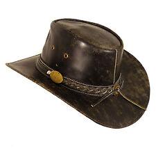 Cuir veritable chapeau de cowboy Cerceau-Buff antique split-taille L