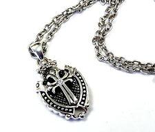 Knights Diamond Cross Shield Pendant In Sterling Silver