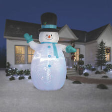 Christmas Airblown Inflatable Happy 12' Snowman Outdoor Light Up Yard Decoration