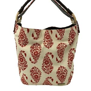 Stephanie Johnson Cotton Tote Bag Purse Red/Cream Floral Canvas Leather Bottom