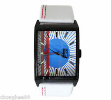 Original HENLEYS Clothing Designer Mens White Leather Strap Square Quartz Watch