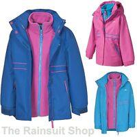 KIDS TRESPASS TIARA 3-IN-1 WATERPROOF JACKET GIRLS HOODED RAIN COAT 3-12yrs