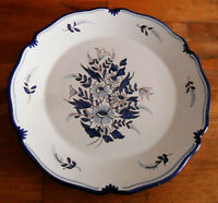 Vintage Hand-Painted French PLATE To Hang, Blue & White for a Pre-Olympics Gala