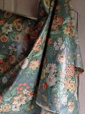 Vintage Blue Cotton Chintz French Fabric Decorative Textile Furnishing One meter