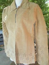 Women's Cut Out Leather Dress Jacket Size Meduim Me Jane Pearl Snap