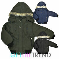Girls Padded Jacket Back To School Fur Trim Bubble Puffa Jacket Hooded Coat 2-6