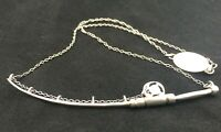 Silver Fly Fishing Rod Necklace Engraved Salmon Clasp Silversmith Made Unique