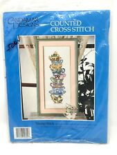 NEW Vintage Candamar Designs Counted Cross Stitch Kit ~ Teacup Stack ~ Cups
