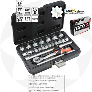 "Ratchet Socket Set 3/8"" 22 Pcs Toolbox AS-DRIVE Tech CrMo CrV Yato YT-38561"