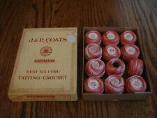 vintage J & P / Star Tatting Cotton 2 shades balls red ( 12 )