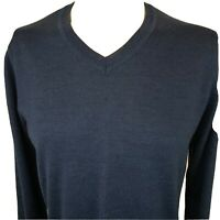 Apt 9 Men's V-Neck Sweater Mens Large Pullover Navy Blue Merino Wool Blend Soft