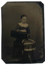 Fine Tintype Photo Girl Sitting in Chair
