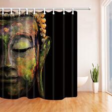 Stone Buddha Face on Black Waterproof Fabric Bathroom Shower Curtain 71inches