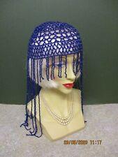 1920's/ PEAKY BLINDER'S  VINTAGE STYLE PURPLE BEADED SKULL CAP/ HAT